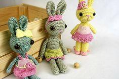 FIAhandmade / Háčkované zajačie slečny Crochet Toys, Baby Toys, Dinosaur Stuffed Animal, Handmade, Animals, Amigurumi, Hand Made, Animales, Animaux