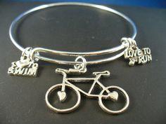 Triathlon Swim Ride Run Silver Bangle Bracelet by DesignsBySuzze, $15.00