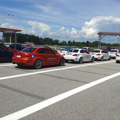 1M's lined up and ready to roll at the BMW performance ///M school