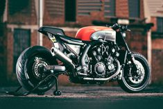 "So VMAX's year is really a big deal to motorcycle maker, Yamaha. Continuing its celebration is another special edition VMAX, this time it is a yard built ""Infrared"" by cult German builder JvB-moto. Motos Yamaha, Yamaha Motorcycles, Custom Motorcycles, Custom Bikes, Vmax Yamaha, Ducati, Vmax Cafe Racer, Inazuma Cafe Racer, Cafe Racer Bikes"