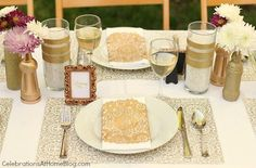 I like the tiny frames, gold dollies and spray painted gold diy vases