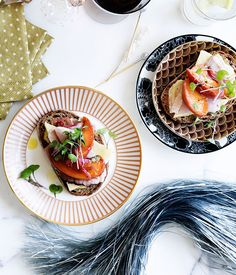 Australian Gourmet Traveller recipe for ham and vintage cheddar sandwiches with peach relish.