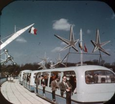 Expo Brussels World's Fair: Tram, from a View-Master souvenir reel. Heroic Age, Monuments, Streamline Moderne, View Master, Atomic Age, World's Fair, Googie, Space Travel, Retro Futurism