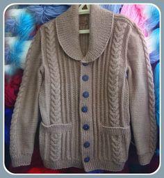 Жакет с шалевым воротником.Часть 2. Спинка. .Men's knitted jacket