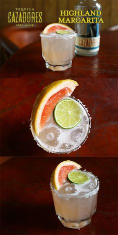 The Cazadores Highland Margarita  Ingredients: 2 parts Cazadores Blanco 4 parts grapefruit juice  1 part lime juice  1 part agave nectar   Salt the rim of a chilled 12oz rocks glass. Add all the ingredients to a shaker and shake. Pour into the glass over fresh ice and garnish with a slice of grapefruit.