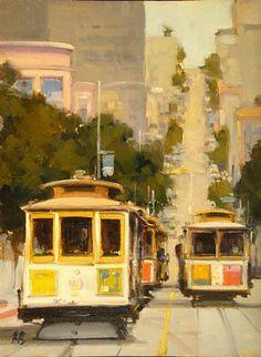 Traffic Jam on Hyde Street by Brian Blood Oil ~ 16 x 12
