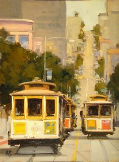 Traffic Jam on Hyde Street by Brian Blood Oil ~ 16 x 12