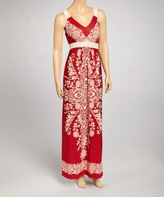 Take a look at this Red & Ivory Batik Maxi Dress by Bailey Blue on #zulily today!