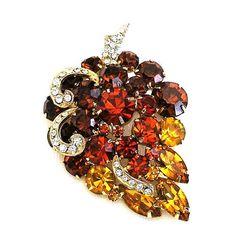 Beautiful Amber Orange and Gold Tone by AgedandOpulentJewels