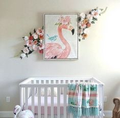 How perfectly feminine is this flamingo theme and flower wall for a baby girl? Rose Nursery, Flamingo Nursery, Tropical Nursery, Flamingo Decor, Nursery Wall Decor, Nursery Design, Nursery Room, Baby Girl Nursery Themes, Nursery Ideas
