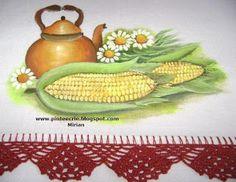 Pintura em tecido ,Pintura em tela, Riscos e desenhos para pintar e artesanatos: Chaleira e milho verde