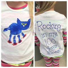 """Pete the Cat t-shirt for the 100th day of school! Use their handprint as his body, thumbprints for shoes and a sponge for his head. The back says """"rocking in my 100 days shoes"""""""
