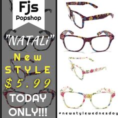 """Guess what day it is today, its #newstylewednesday here at @fjs_popshop we have a new style every Wednesday and we release it at an incredibly low price for one day only. Today we have """"Natali"""" a floral pair of glasses for adults which are hip and trendy. Find them on our website at fjspopshop.com click on shop and scroll below and find them featured. #fjspopshop"""