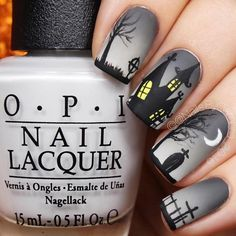 Haunted House Nails Nail Art Design To find some inspo on easy Halloween nails design check out our gallery. Here we put together the best nail art ideas to match any taste and costume from cute and classy to scary and creepy. Holloween Nails, Halloween Acrylic Nails, Halloween Nail Designs, Halloween Decorations, Christmas Manicure, Holiday Nails, Nail Lacquer, Nail Polish, Acrylic Nail Designs