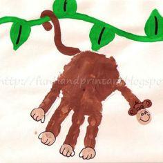 59 handprint/footprint art projects for kids Kids Crafts, Crafts To Do, Projects For Kids, Art Projects, Arts And Crafts, Family Crafts, Easy Crafts, Monkey Art, Monkey Crafts