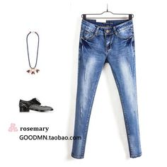 27.81$  Watch now - http://aiqjv.worlditems.win/all/product.php?id=32764825709 - Korean women's last single Weihuo slim slim Stretch Jeans Jeans pencil pants pants nine