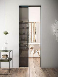 dettaglio serratura porta scorrevole interno muro in alluminio e ...