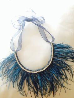 Collar joya con plumas en azul  petróleo, ideal con una blusa blanca, vaqueros y sandalias.