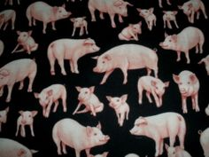 Pigs on Black Hogs yd Cotton Fabric RARE | eBay