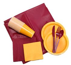 Assorted Maroon & Gold Paper and Plastic Party Ware