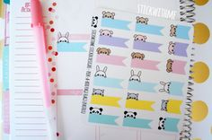 Peek-a-boo Page Flags PLANNER STICKERS (SWM26) (3.80 CAD) by STICKWITHMEshop