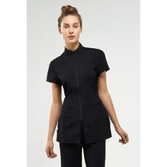 The Sienna Woman's Tunic Top - Black, Charcoal or Chocolate - A chic zipper front tunic that provides a flattering silhouette. The Sienna features short cap sleeves and a modified standing collar. Spa Uniform, Hotel Uniform, Beauty Uniforms, Pin Up, Womens Fashion Online, Mandarin Collar, Fitness Fashion, Black Tops, Tunic Tops