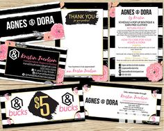 Agnes and Dora Marketing Kit Bundle Pack, Agnes & Dora Business Card, Thank You / Care Card, Independent Representative Cash Bucks Moolah Dollars Coupon Voucher, Best small business marketing kit branding in black stripe with pink floral style on Etsy