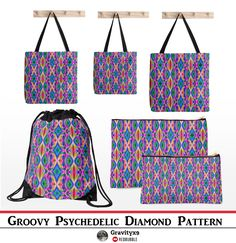 Groovy Psychedelic Bags -  Bright, colorful abstract design with pinks, blues, greens and several other  groovy colors.  #Redbubble #Gravityx9
