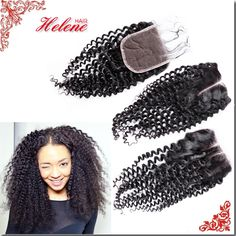 ePacket Free Shipping Top 7A Brazilian Virgin Hair Lace Closure 130% Kinky Curly with Baby hair Bleached Knots free middle 3Part
