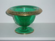 Vintage Green Depression Glass With Gold Leaf by PandBTreasures, $6.00