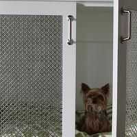 Brown Eyed Fox - laundry/mud rooms - dog bed, dog crate, built in dog bed, built in dog crate, chicken wire doors, shaker cabinets, white sh...