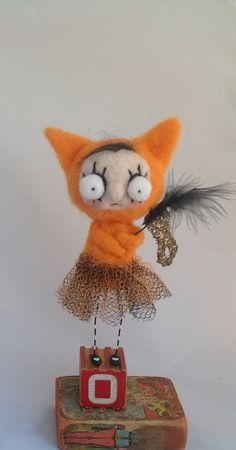 Olivia the orange kitty girl ooak needle felted art doll