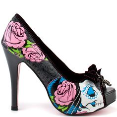9b3cac92b10 New Iron Fist Black Pink Sugar Witch Skulls And Roses Pinup Platform Pumps 7   IronFist