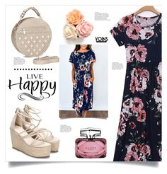 """Floral Dress by YOINS"" by mahafromkailash ❤ liked on Polyvore featuring Gucci and WALL"