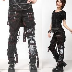 Men Women Black Skull Emo Punk Rock Fashion Casual Pants + Waist Bag SKU-11404213