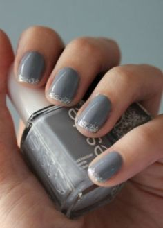 Gray manicure with silver tips by meredith