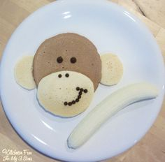 We made this monkey breakfast using regular & chocolate pancakes, chocolate chips, and 1 banana. Make your favorite pancake mix. Separate half of it and mix in a little cocoa. We added half a tablespoon to 1 cup of pancake mix. Make the big face with the chocolate mix. Make smaller circles for the ears...Read More »