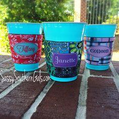 Wine Glass Koozie Solo Cup Koozie Coffee Cup Koozie Monogrammed / Personalized Koozie August 12 2015 at 11:42PM