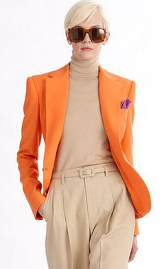 Ralph Lauren 2014 (Really loving the orange color popping up all over the place for 2014 - notice the orchid colored pocket hanky)