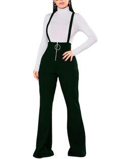 78e31b698900 High Waist Ring Zipper Flared Suspender Pants (S M L XL)