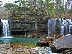 waterfall map of arkansas | Arkansas Twin Falls in Richland Creek | Ozark Mountain Region