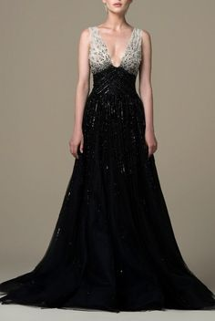 SK by Saiid Kobeisy V-Neck Beaded Gown SK 43 | Poshare Beautiful Dresses, Nice Dresses, Formal Dresses, Modern Fashion, Women's Fashion, Saiid Kobeisy, Beaded Gown, Caftans, Bane