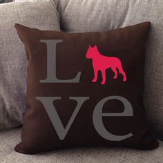 """Our LOVE pillow is 16"""" x16"""" in size with a zipper cover for easy cleaning. Printed on both sides — Made in USA. Offered in 50 + dog breeds."""