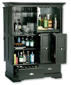 a Bar That Goes Away When the Party's Over Thinking of converting my current country cottage blueTV cabinet to look something like this.Thinking of converting my current country cottage blueTV cabinet to look something like this. Armoire Bar, Home Bar Cabinet, Drinks Cabinet, Cabinet Doors, Cabinet Ideas, Small Liquor Cabinet, Diy Home Bar, Diy Bar, Bars For Home