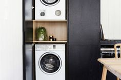 Three Birds do a black, bold & tiny kitchen renovation Laundry In Kitchen, Laundry In Bathroom, Kitchen Reno, Laundry Rooms, Flat Interior, Kitchen Interior, Small Space Living, Small Spaces, European Laundry