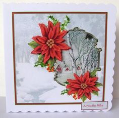 Vintage hamlet and poinsettias 7x7 card on Craftsuprint designed by Angela Wake - made by Margaret McCartney - I printed the design onto good quality photographic paper and cut it out. I scored and folded a 7 x 7 scalloped edged card. I attached the design to the card using double sided tape. I assembled the decoupage using thin foam tape. I added the greeting using thin foam tape. I added glitter to the snow to complete this gorgeous card. - Now available for download!