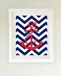nautical decor...white frame and matte. Mod podge a chevron fabric or scrapbook paper then paint the anchor?