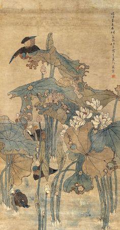 Japanese Painting, Chinese Painting, Japanese Prints, Japanese Art, Lotus Art, Korean Art, China Art, Illustrations, Vintage Artwork