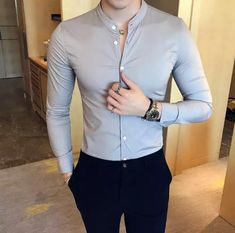 2018 New Men's Fashion Boutique Cotton Solid Color Collar Casual Business Long-sleeved Shirts Male Slim High-end Leisure Shirts Overalls For Mens Fashion Refferal: 9297128938 mens fashion trends which look trendy. Formal Office Outfits for Men Gender: Men Stylish Mens Outfits, Stylish Mens Fashion, Mens Fashion Suits, Stylish Clothes For Men, Fashion Clothes For Men, Casual Outfits, Indian Men Fashion, Men's Fashion, Men's Formal Fashion