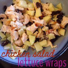 Chicken salad lettuce wraps - chicken, apple, walnuts, and raisins. yum